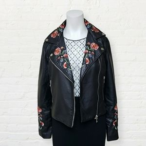 SWS faux leather embroidered biker style jacket